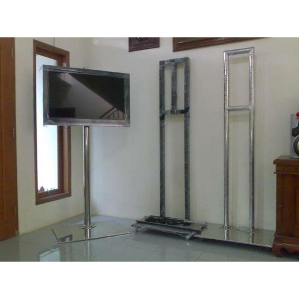 Bracket tv Floor Stainless Steel 2Tiang