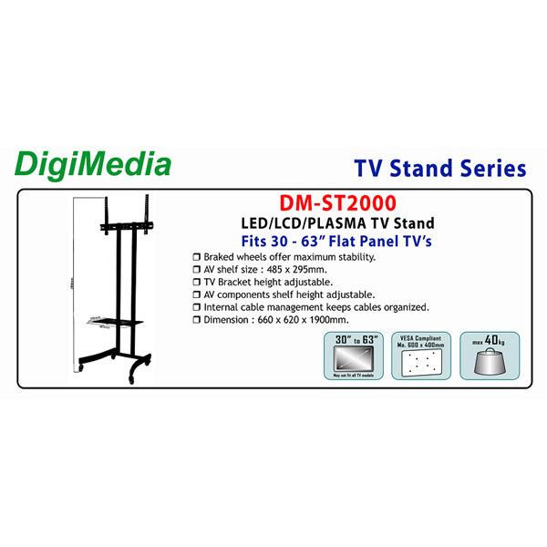 tiang bracket tv led berdiri  merk digimedia (Type DM-ST2000)