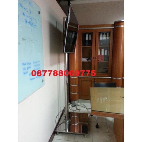 Bracket TV Standing LED stainless steel 1 Tiang Mirorr