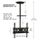 Braket tv  Ceiling Merek Kenzo Type KZ-62 For Flat TV 32in - 63in 1