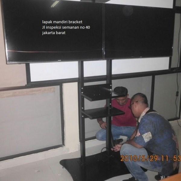 braket tv bracket standing plat kupu kupu dual tv murah