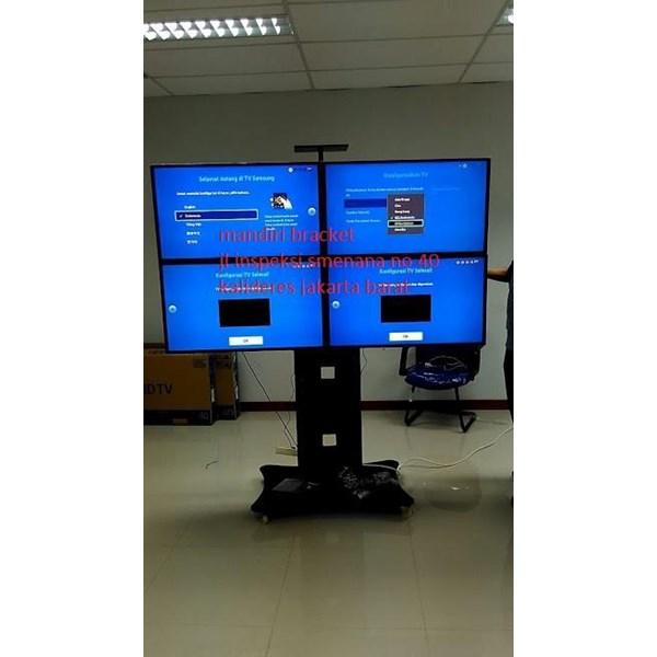 braket tv Stand Video Conference 1 tiang dua tiang 2 tv 4tv kanan kiri cuztom
