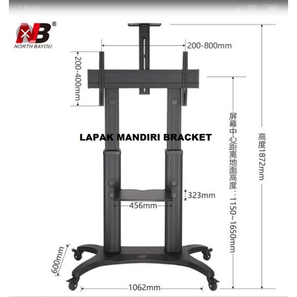 Bracket TV North Bayou  AVF 1800 -70-1P 55 -80 INCI STEEL TV STANDING DENGAN RODA