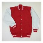 Jaket Baseball Merah Kombinasi Putih 1