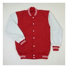 Jaket Baseball Merah Kombinasi Putih