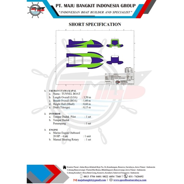 TUNNEL BOAT P.3.50M JETBOAT TYPE 1.1 (2 PAX)