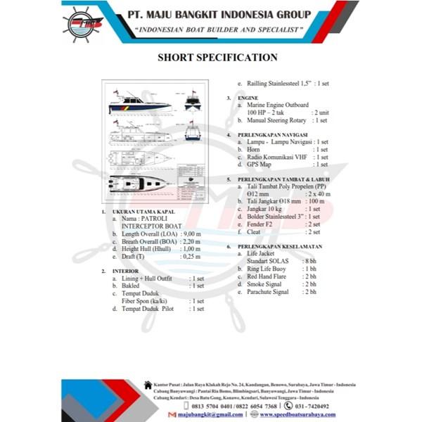 KAPAL PATROLI P.9.00M INTERCEPTOR type 1 (2 ENGINE)
