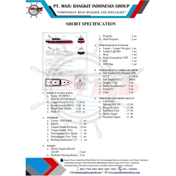 KAPAL PATROLI P.12.00M INTERCEPTOR type 2.1 (10 pax)