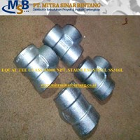 Jual Equal Tee Class #3000 Stainless Steel A182 F316L
