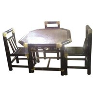 Meja Kursi Makan Bambu - Set 4 Kursi