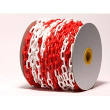 Red and White Plastic Safety Barrier Chain (50mtr/roll)