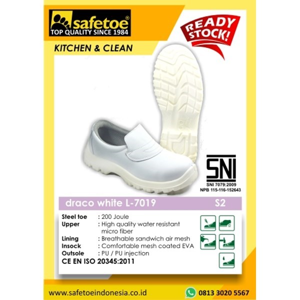 Sepatu  Safety Wanita Draco White L-7019