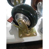 Roda Troli rubber 3inch putar with brake