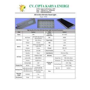 Lampu Solar Cell PJUTS Lithium All In One LED 18 Watt