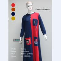 Jual Baju Gamis Dua Warna Kombinasi Gambar Tempel 2019-00021