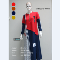 Jual Baju Gamis Kombinasi Garis 2019-00016