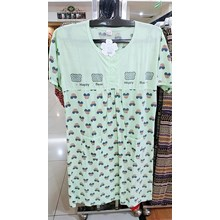 Green Short  Sleeve Cartoon Pattern Dress