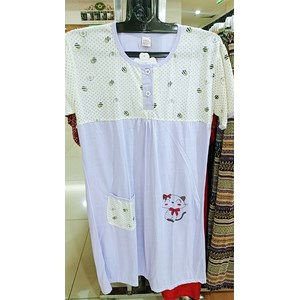 From Short Sleeve Dress Patterned with Purple Cat 0