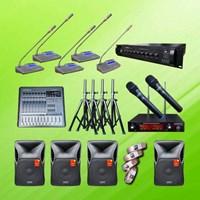 Jual Power Amplifier Paket Mic Conference Auderpro Ao-809 Digital Kabel P2 Pakai 26 Mic + Sound Sound 2