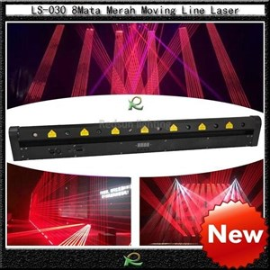 Lampu laser disco disko 8 mata moving laser merah LS030