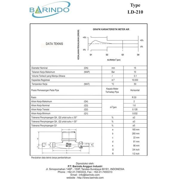 """Meter Air BARINDO LD-210 Kuningan 1/2"""""""
