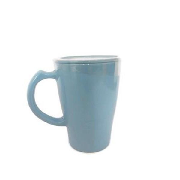 Cangkir Besar Set+Tutup Biru Muda 400 ml - Glori Melamine 978