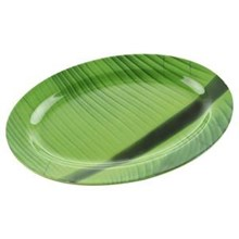 Oval Platter motifs of banana leaves 10 inch - Ifi