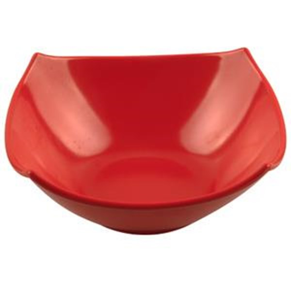 Mangkok - Mangkuk Segi Empat 7 inch Merah - Glori Melamine 4470