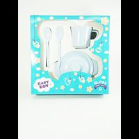 Dari Produk dan Peralatan Bayi Set Alat Makan Bayi (Baby Set Melamine) Glori Melamine SET.001.BM - Biru Muda 2