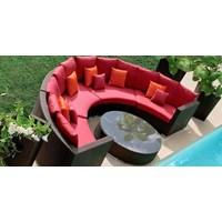 Jual Kursi Hotel Synthetic Rattan Kursi Setengah Lingkaran dan Meja