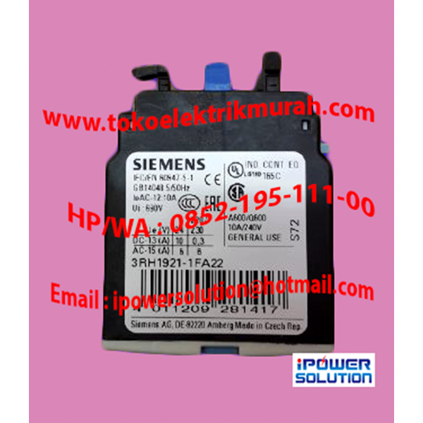 Auxiliary Contact Type 3RH1921-1FA22  10A  SIEMENS