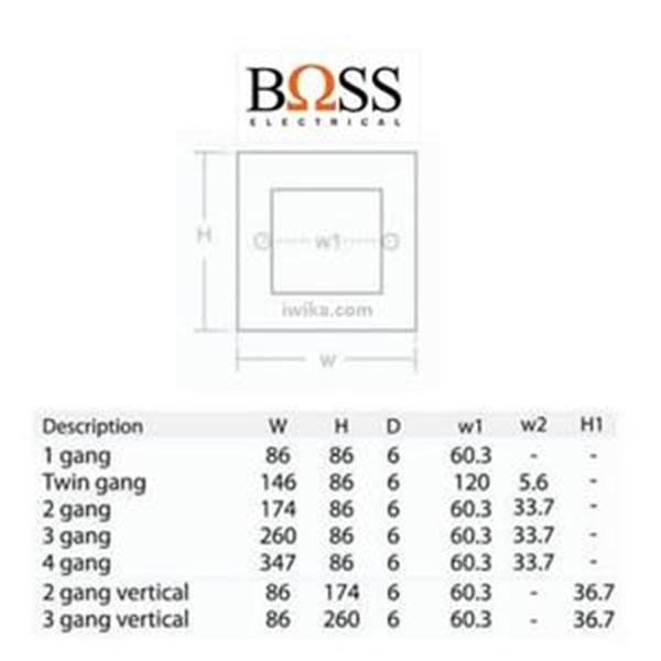 Saklar BΩSS 4 Gang 1 Way Switch BT1034/1/2A