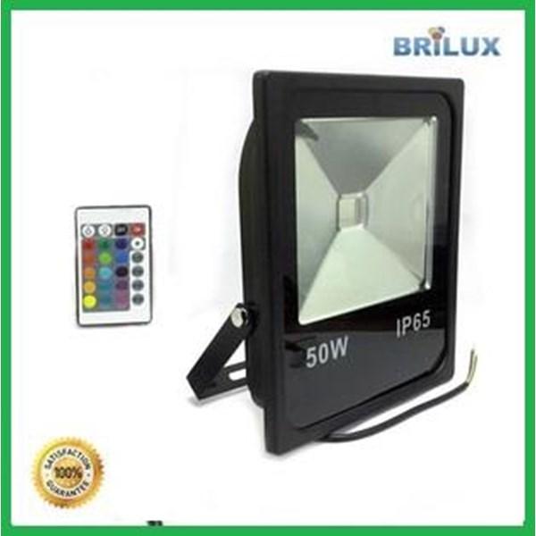 Lampu LED Floodlight Slim Sorot 50W 220V RGB dan Remote 24 Key