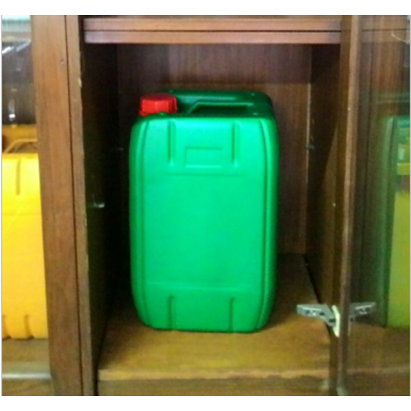 Plastic jerry cans of green HDPE