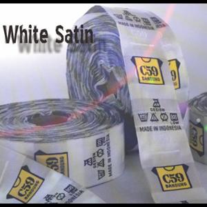 Label Print White Satin