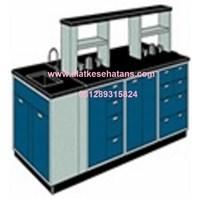 meja Laboratorium Ruangan Tengah sink dan rack meja granite 1