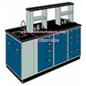 Pabrik meja Laboratorium Ruangan Tengah sink dan rack meja phenolic resin