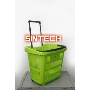Keranjang Plastik tarik warna hijau
