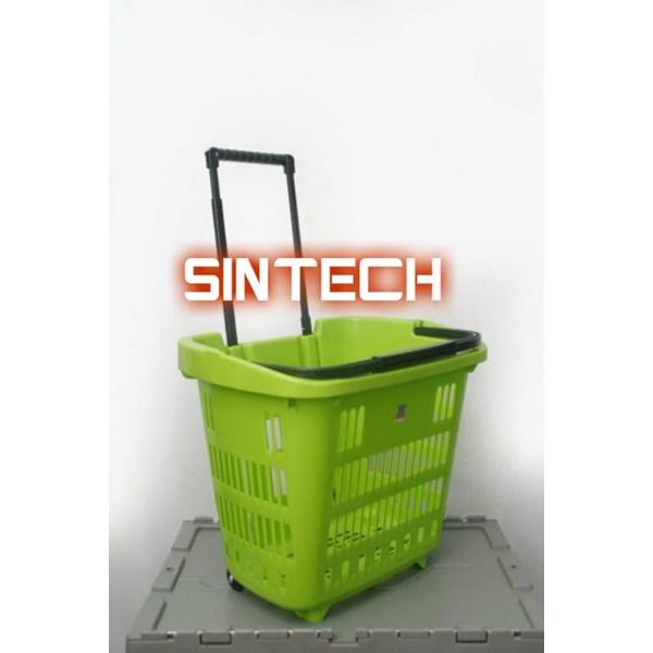 Plastic basket pull green color