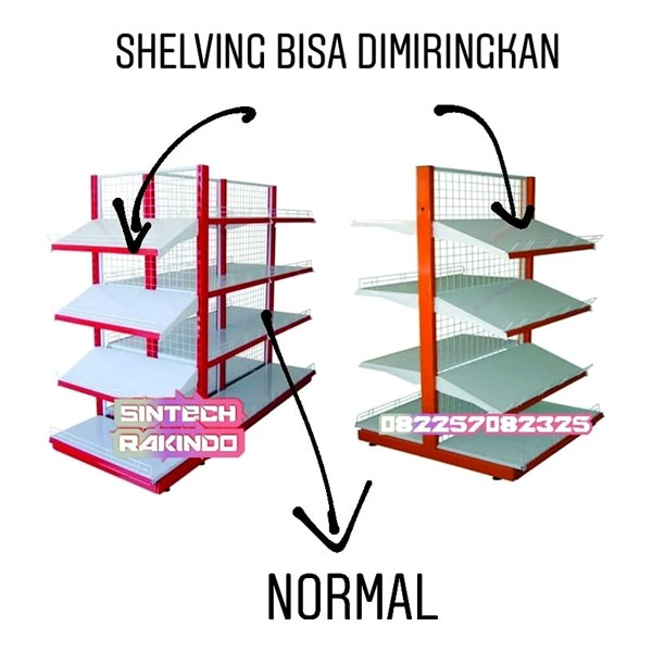 Shelving Rak Supermarket / Rak Minimarket Model Miring