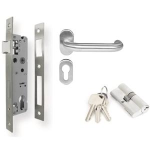 Aluminium Lockcase Set [ Lever Handle + Mortise + Cylinder Lock ] DEKKSON Kunci Set Pintu Aluminium Dekson