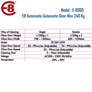 Dari Pintu Otomatis Automatic Door 240 Kg Merk E8 Type E6000 2