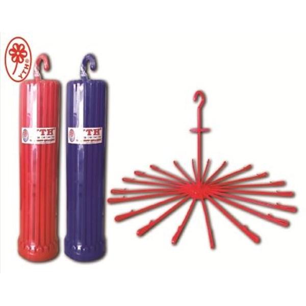 Gantungan baju folding manual YTH 80 warna biru dan merah ukuran dewasa
