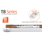 GLASS TUBE ECONOMIC TYPE - 0.6M - 8W 1