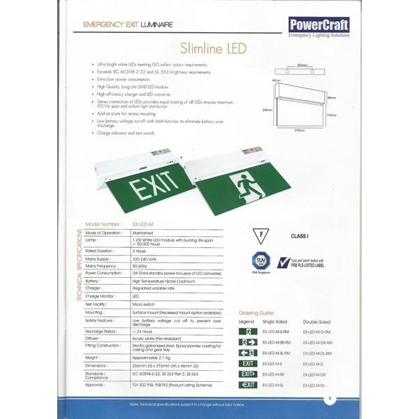 Lampu LED Exit Powercraft EX-LED-M