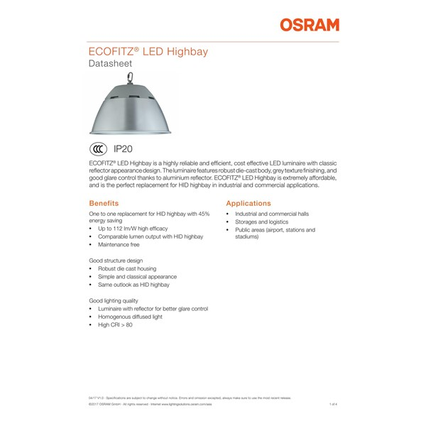 Lampu Industri Highbay LED OSRAM ECOFITZ -70W