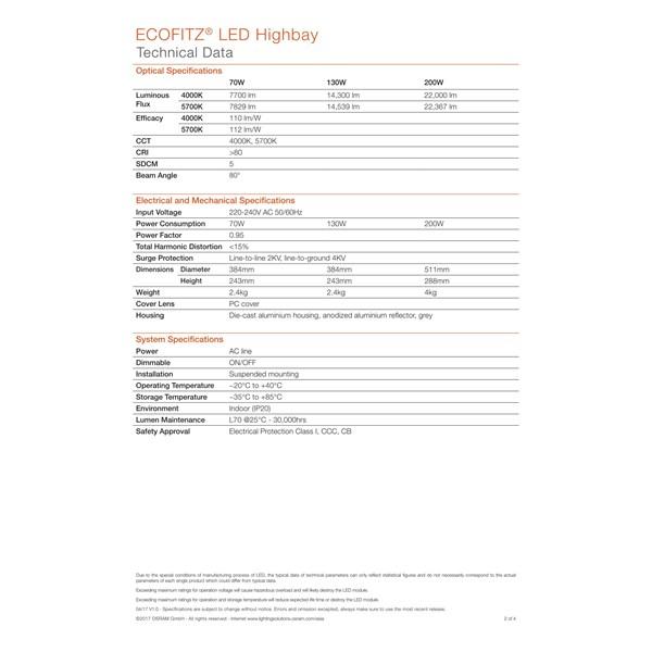 Lampu Industri Highbay LED OSRAM ECOFLITZ -200W
