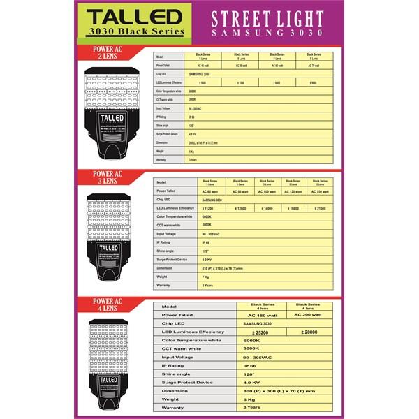 Lampu Jalan PJU LED Talled Black -250W AC