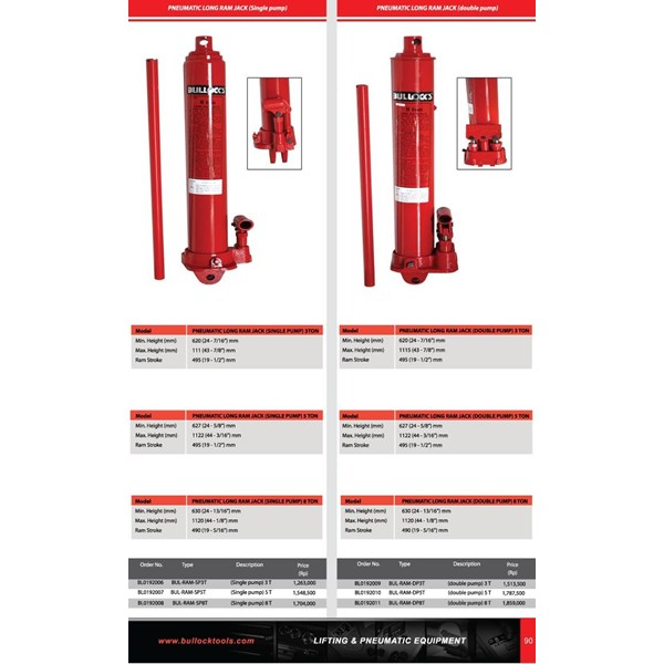 PNEUMATIC LONG RAM JACK 3 TON (SINGLE PUMP)