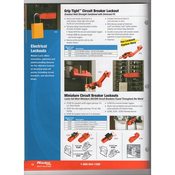 GRIP TIGHT CIRCUIT BREAKER LOCKOUT 491B MASTERLOCK